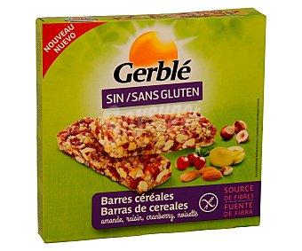 GERBLE Barritas snacks de cereales con arándano uva almendra y avellana sin gluten caja 90 g