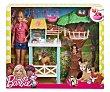 Barbie veterinaria y su granja, con accesorios y 8 animales, BARBIE.  Barbie