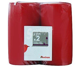 AUCHAN Velas cilíndricas de 95x50 milímetros, de color rojo Pack de 2 Unidades