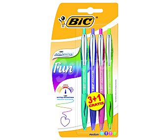 BIC ATLANTIS FUN Bolígrafos de Colores Divertidos 3+1 Unidades