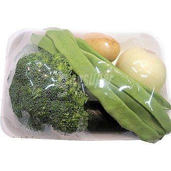 Surtido de Verdura para Crema Verde con Brécol, Judía Verde, Patata, Cebolla y Calabacín - Peso Aproximado Bandeja 1,2 kg