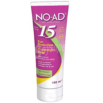 NO-AD Protección solar FP-15 ayuda a prevenir el envejecimiento prematuro de la piel resistente al agua Tubo 100 ml