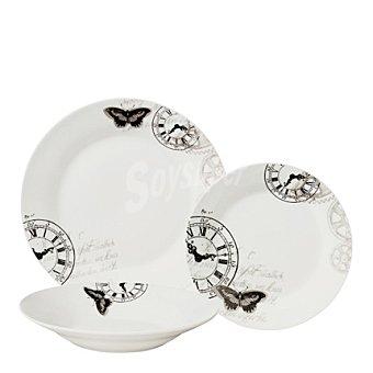 Vajilla 18 piezas porcelana decorada Mod. RELOJ  18 piezas
