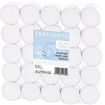 Tealights Paquete de velas calientaplatos en color blanco 50 unidades