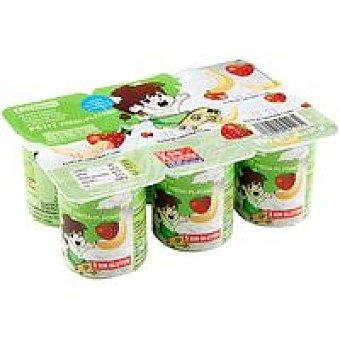Eroski Petit Fruits de fresa-plátano Pack 6x55 g