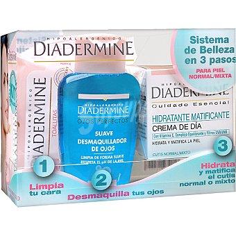 DIADERMINE pack piel normal y mixta con crema hidratante y matificante de día + desmaquillador de ojos suave + toallitas desmaquilladoras tarro 50 ml