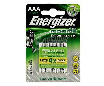 Energizer Paquete de 4 pilas recargabables del tipo AAA o HR03 y con capacidad de 700 mAh Power plus