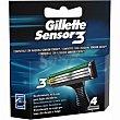Recambio maquinilla de afeitar Blister 4 u Gillette Sensor