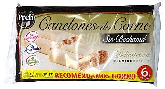 Preli Canelones carne sin bechamel congelado Paquete 6 u