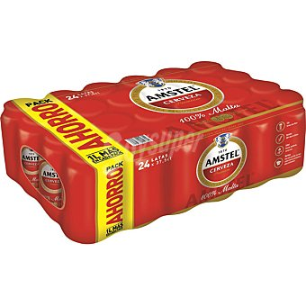 AMSTEL Cerveza rubia nacional  24 latas 37,5 cl