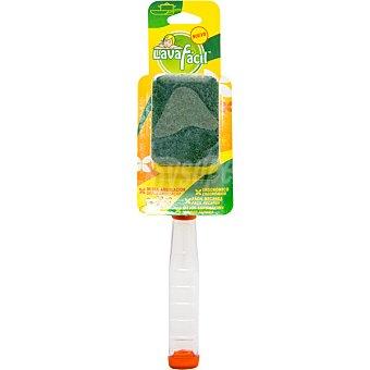 Lavafacil Limpia vajillas con mango estropajo fibra verde doble angulación aparato + recambio