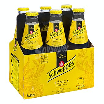 Schweppes Tónica clásica Pack 6 botellines x 25 cl