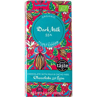 CHOCOLATE AND LOVE Chocolate con leche ecológico con trozos de cacao 55%  tableta 100 g