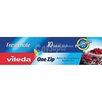VILEDA bolsa de congelación reutilizable medianas Freshmate One Zip caja 10 unidades 3 litros