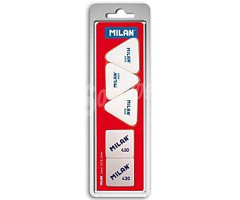 Milan Lote de 5 gomas de borrar, 3 triángulares de miga de pan y 2 cuadradas milan