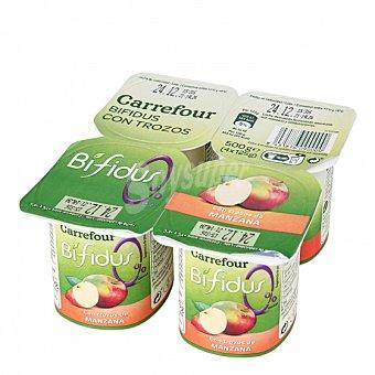 Carrefour Yogur bífidus desnatado con trozos de manzana Carrefour Pack de 4 unidades de 125 g