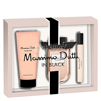 Massimo Dutti Estuche In Black for her colonia con vaporizador 80 ml + loción corporal 75 ml + colonia 15 ml. 1 ud