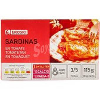 Eroski Sardinas en tomate Lata 80 g