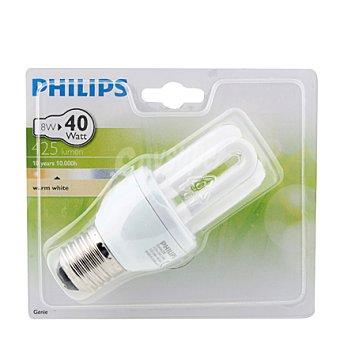 Philips Bombilla tubo ahorradora 8W, blanca cálido, E14 Genie 1 Unidad