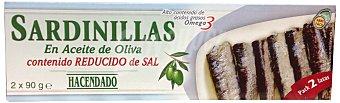 Hacendado Sardinillas aceite oliva bajas en sal Lata pack 2