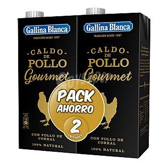 Gallina Blanca Gourmet caldo de pollo de corral 100% natural envase 2 x 1 lt