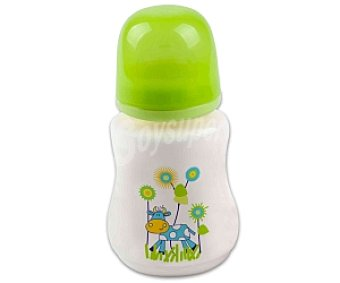 Baby Auchan Biberón boca ancha, tetina de silicona,flujo papilla, verde, +4 Meses, 350 Mililitros 1 Unidad