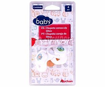 Baby Chupete cereza de látex +4 Meses, Blanco 2 Unidades