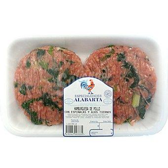 ALABARTA Hamburguesas de pollo, espinacas y ajos tiernos Bandeja 350 g peso aprox. (4 unidades)