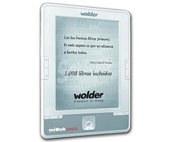 """WOLDER MIBUK DREAMS Libro Electrónico con Pantalla de 6"""" , Tinta Electronica con 16 Escalas de grises, Resolución: 600 x 800, Capacidad de Almacenamiento 4GB Ampliable Mediante tarjetas microsd de hasta 32GB , Hasta un Mes de Bateria"""