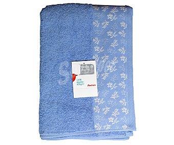 AUCHAN Toalla 100% algodón para ducha, estampado jacquard color azul, 70x140 centímetros 1 Unidad