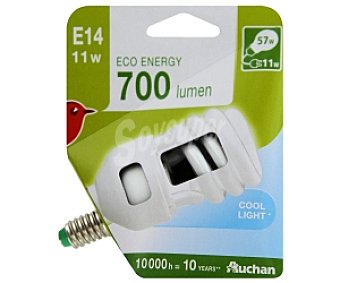 Auchan Bombilla bajo consumo espiral 11 Watios, casquillo E14 (fino), luz blanca 1 unidad
