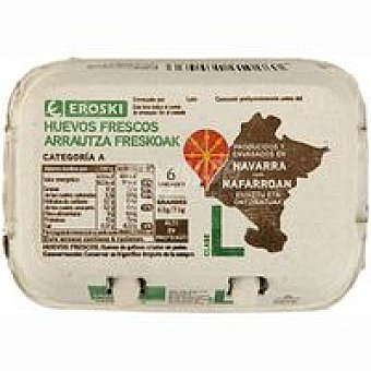 Eroski Huevo fresco L Navarra 6 unidades