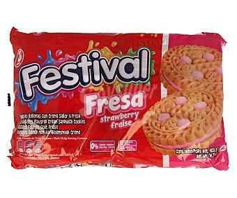 Festival Galletas rellenas con crema sabor a fresa 415 gramos