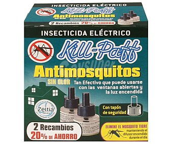 Kill-Paff Insecticida eléctrico líquido antimosquitos Pack 2 uds