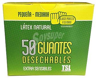 TSL Guantes desechables látex talla pequeña / mediana Caja de 50 uds