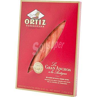 Ortiz El Velero Caja Roja anchoas del Cantabrico en aceite de oliva estuche 55 g neto escurrido Estuche 55 g neto escurrido