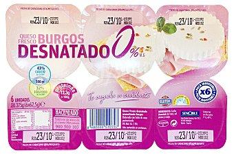 Hacendado Queso fresco burgos desnatado 0% Pack 6 x 62,5 g - 375 g