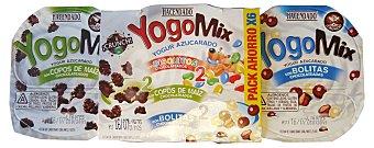 Hacendado Yogur yogomix cereales variados ( 2 disquitos (chocolate), 2 copos maiz chocolateados, 2 bolitas chocolateadas) Pack 6 x 150 g - 900 g