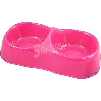 San Dimas Comedero para gatos doble rosa 1 unidad 1 unidad