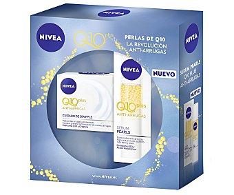 Nivea Crema Q10 de día anti-arrugas con factor protección 15 (50 ml) + serun pearls con puro poder anti-arrugas para una piel con aspecto más terso y joven (40 ml) 2 unidades