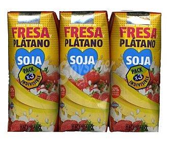 Hacendado Nectar + soja fresa platano 3 x 330 cc