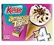 Cono de helado con relleno de ambrosía Tirma y rizos de chocolate con leche 4 x 70 g Kalise