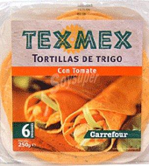 Carrefour Tortillas de trigo con tomate 'tex Mex' 6 unidades (250 g)
