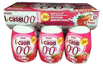HACENDADO Yogur líquido L casei desnatado fresa 6 unidades de 100 g (600 g)