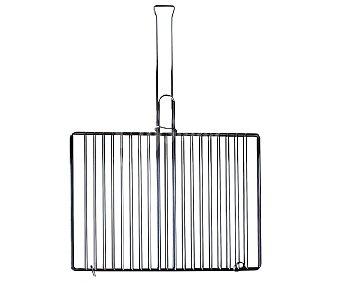 GARDEN STAR Parrilla rectangular de acero inoxidable con mango de madera para barbacoas, 40x29 centímetros 1 unidad