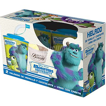 LA IBENSE BORNAY Disney Monster helados de vainilla y chocolate + vaso con pajita estuche 140 ml 2 unidades