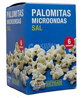 Hacendado Palomitas microondas saladas Pack 6 x 100 g - 600 g