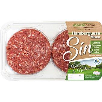 MONTECARNE Hamburguesa mixta (vacuno y cerdo) 2 unidades sin gluten y sin lactosa Bandeja 240 g