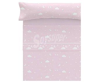 Actuel Juego de sábanas infantil tejido pirineo para cama de 105cm., diseño de nubes color rosa, actuel.