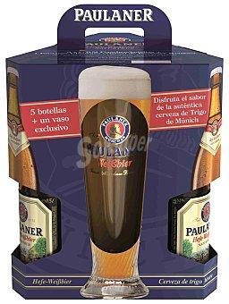Paulaner Cerveza Pack de 5 botellas de 50 cl + Vaso regalo